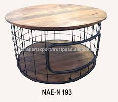 Industrial Round Coffee Table Industrial Vintage Iron Wooden Round Coffee Table With Wheel
