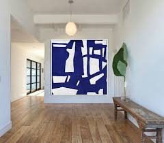 hand made blue white painting minimalist abstract art canvas art large wall art home