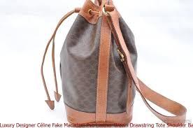 luxury designer céline fake macadam pvc leather brown drawstring tote shoulder bag celine
