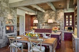 ... Cozy kitchen in stone and reclaimed timber [From: JLF Associates /  Kevin Perrenoud Photography