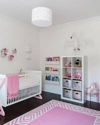 Designs Ideas:Chic Modern Pink Nursery With Pink Rug Also White Modern Baby  Crib Near
