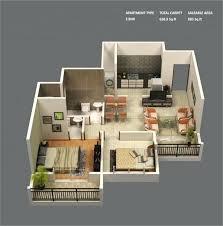 Two Bedroom Apartment Plan Exterior Design
