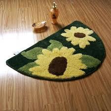 semi circle yellow sunflower non slip rug bath mat half large
