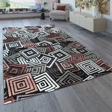 Designer Teppich Abstraktes Muster Grau Rosa