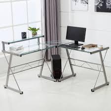 glass desks for home office. lshape corner computer desk pc glass laptop table workstation home office clear desks for l