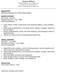 housekeeping resume templates hotel housekeeper resume objective work history