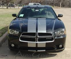 2011 2014 Dodge Charger Racing Stripes N Charge Rally Mopar Hood Decals Vinyl Graphics Kit 10 Inch
