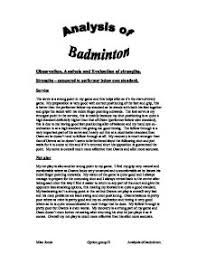 badminton observation analysis and evaluation of strengths  page 1 zoom in