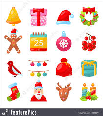 Traditional Symbols Holidays Christmas Colorful Traditional Symbols Simple Style
