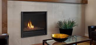 caliber modern 36 gas fireplace shown with simon front and optional amber glass media