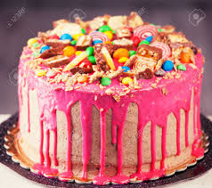 Beautiful Big Pink Cake Birthday Cake Stock Photo Picture And