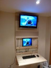 the tv wall mount desk hidden pc chadwick satin lacquered oak hidden home