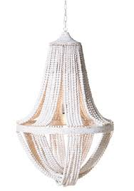 large metal and bead off white chandelier