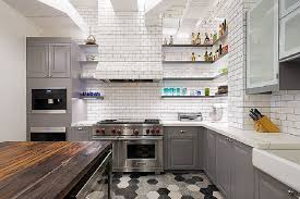 white kitchen dark tile floors. Delighful White White Brick Walls Gray Cabinets Hexagon Tile Flooring Dark Wooden Island  Double Wall Ovens To Kitchen Floors W