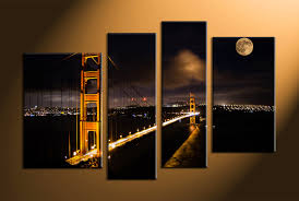 4 piece city bridge at night with yellow lamps moon good view city canvas wall art  on 4 piece canvas wall art with wall art top 10 sample ideas city canvas wall art wall art on
