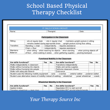 Checklist For School School Based Physical Therapy Checklist Your Therapy Source
