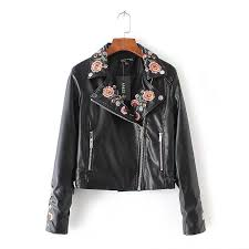 whole faux leather jacket women motorcycle jacket 2017 spring autumn flowers embroidery outerwear coats short zipper basic jackets 666 leather jacket