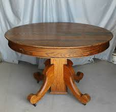 details about antique round oak table original finish 45 diameter with leaves