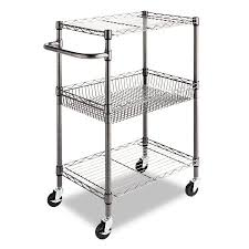 Alera Three-Tier Wire Rolling Cart, 28w x 16d x 39h, Black Anthracite
