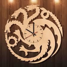 Dragon Game Of Thrones HANDMADE Natural Wood Wall Clock Bedroom Decor ...