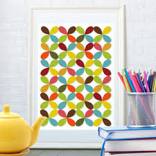 abstract fl pattern print kitchen art poster child wall ar wall decor mid century