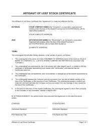 Letter Of Destruction Template Affidavit Of Lost Stolen Or Destroyed
