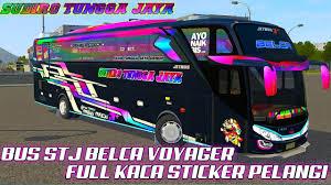 Custom template livery bussid hd, sdd, xhd dan shd. Livery Bussid Shd Ori Stj Belca Jb3 Voyager Full Kaca Sticker Pelangi Youtube