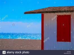 Malerisch Impressionistisch Arty Bild Der Weiß Lackierten Beach Hut