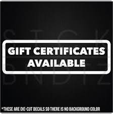 Gift Certificate Sign Gift Certificates Business Commercial Restaurant Sign Wall Decal