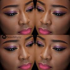 dark skin mixed glitter eyes pink lips makeup tutorial you lizofss
