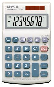 sharp el sab basic solar powered four function calculator  sharp el 240sab basic solar powered four function calculator
