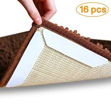 16 pcs rug gripper double side anti curling non slip rug gripper keep carpet tape stop slipping for outdoor bath kitchen round corner hardwood
