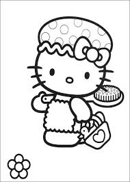Kids N Fun Kleurplaat Hello Kitty Kitty Gaat In Bad