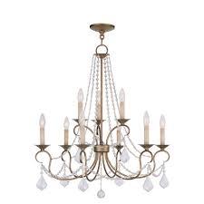 livex lighting providence 9 light antique gold leaf incandescent ceiling chandelier