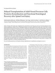 makalah referat spinal cord injury documents delayed transplantation of adult neural precursor cells promotes ion and functional neurological recovery after spinal cord