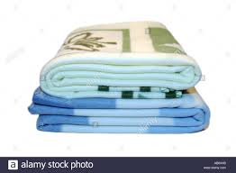 Patterned Blankets Gorgeous A Soft Blue Check And A Green Patterned Blankets Stock Photo