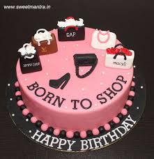 Born To Shop Theme Customized Designer Fondant Cake With 3d Shopping