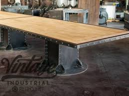 fantastic vintage conference table hand made vintage industrial i beam conference table vintage