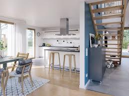 Offene Küche Esszimmer Flur Mit Gerader Holz Treppe
