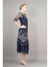 art nouveau wedding dress. nataya navy blue embroidered tulle party dress-vintage inspired wedding dresses art nouveau dress