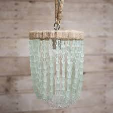 aged brass chain sea foam pendant throughout sea glass pendant light