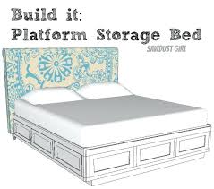 king storage bed plans. Platform Queen Bed With Storage Cal King Plans From Sawdust Girl Winslow White