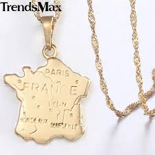 whole france map pendant necklace for women champagne gold smooth womens french shaped pendants woman jewelry 2018 drop kgp320 aquamarine