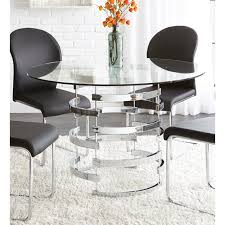 steve silver tayside round glass top dining table in black dining chairs not included