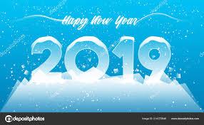 2019 Happy New Year Card Design 2019 Winter Season Concept Stock