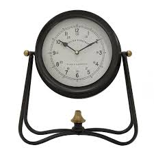 metal table clock in black 85746 the home depot