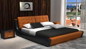 Orange And Black Bedroom D539 Modern Orange Black Bonded Leather Bed