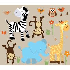 colorful jungle stickers with zebra wall art for boys on jungle animal wall art with colorful jungle wall decals for nursery with zebra wall murals for
