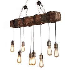 Vintage Pendelleuchteonlt Holz Pendellampe Höhenverstellbar Kronleuchter Schwarz Hängelampe Vintage Hängeleuchte Industrial Retro Metallfür