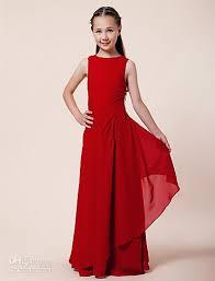 Greek Red Little Girls Long Dresses Floor Length Kids Gowns Junior
